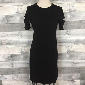 Helmet Lang Black Wide Rib Dress